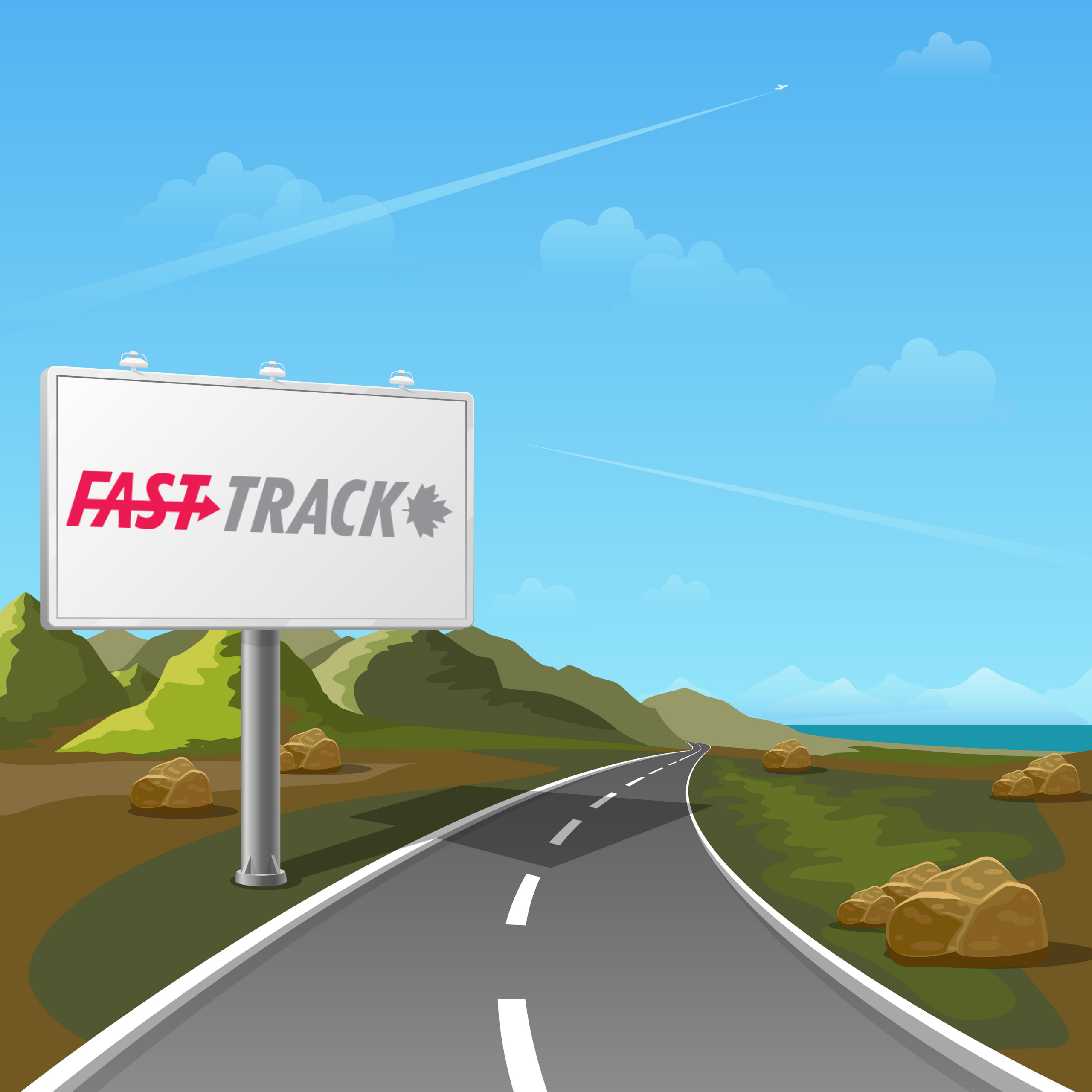 road with fasttrack billboard